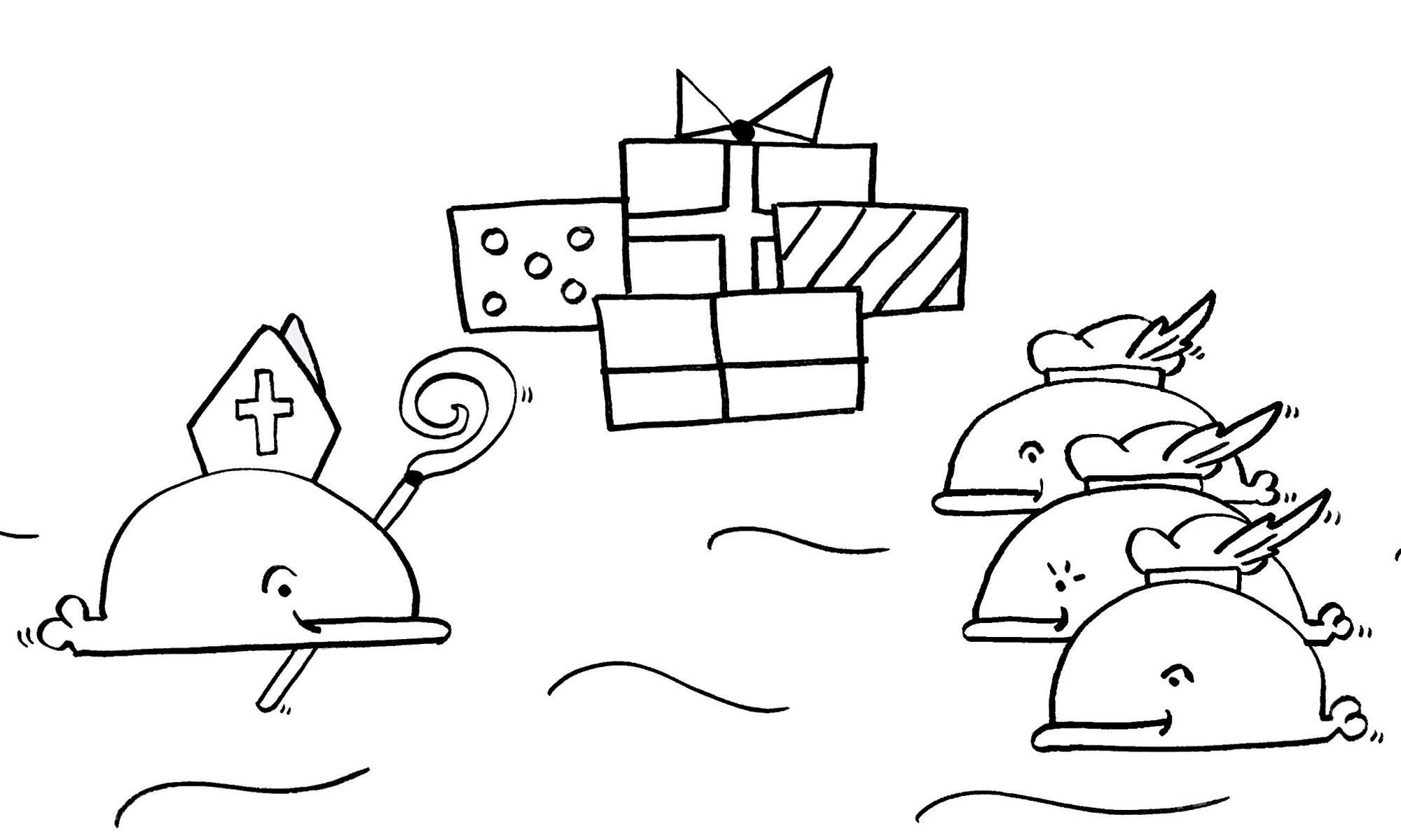Nieuwe Kleurplaten Sinterklaas.Sinterklaas Nieuwe Kleurplaat Wabbie De Walvis
